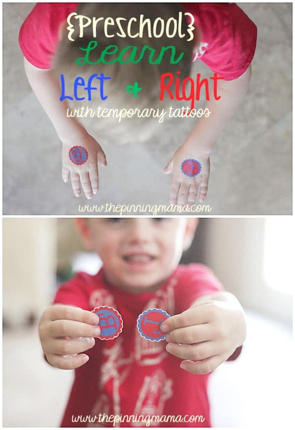{Preschool} Learn Left & Right with Custom Temporary Tattoo + Silhouette Cameo Sale and Promo Code