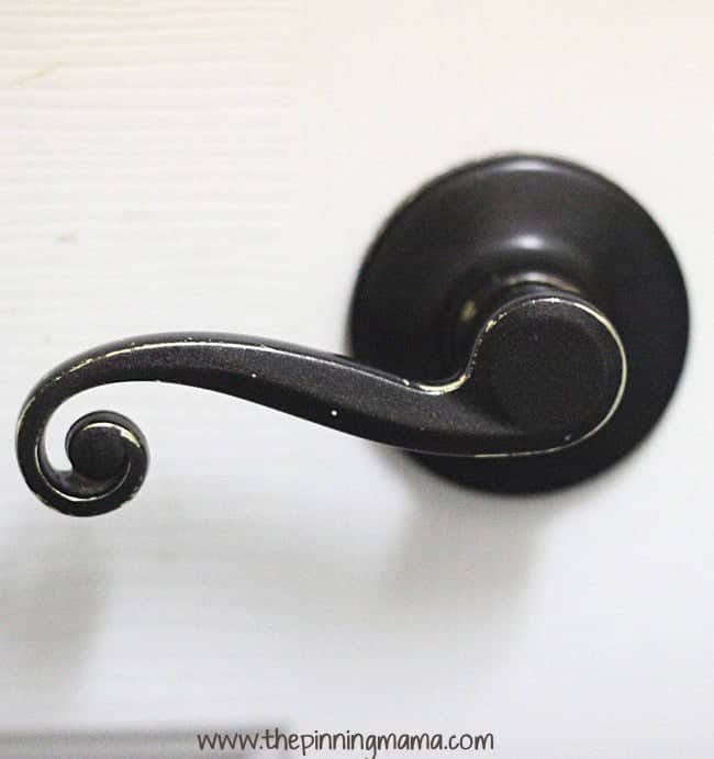 The Bathroom door knob made over from brass to oil rubbed bronze.  See how it held up over 2 years.