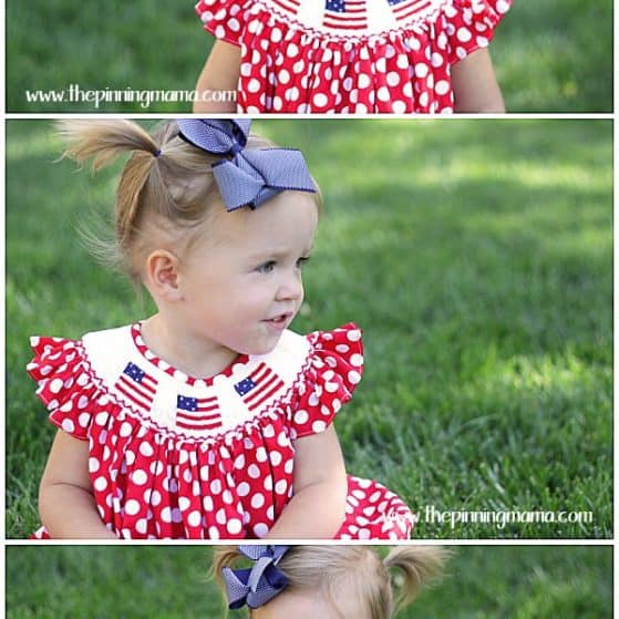 Little girl's smocked flag outfit for 4th of July *LOVE*