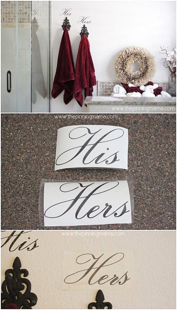 His & Hers labeled towel hooks - love this!