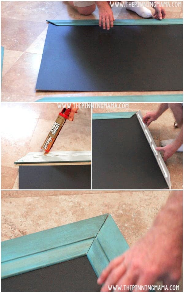 Oversized Outdoor Chalkboard : Finish your chalkboard by using liquid nails to fit the frame together.