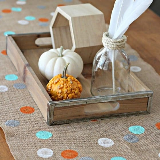 Easy Fall Decor you can do in 30 minutes! Polka Dot Burlap Table Runner