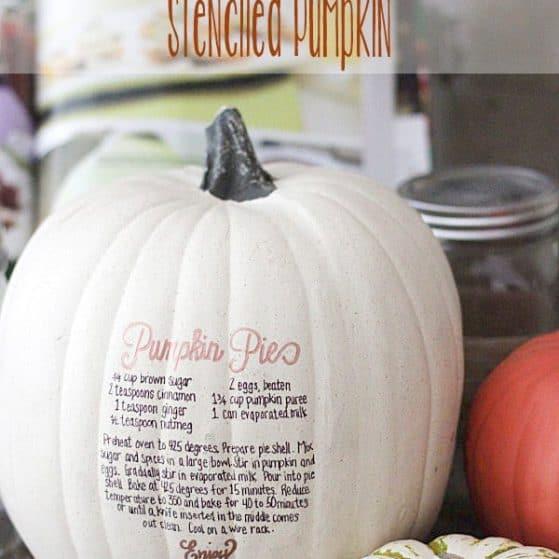 How cute is this? Stenciled Pumpkin Pie Recipe on a Pumpkin! LOVE!