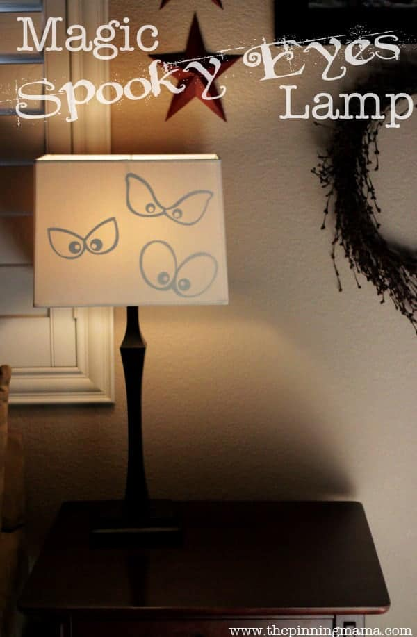 What a fun Halloween decoration! As the lamps come on the spooky eyes appear!