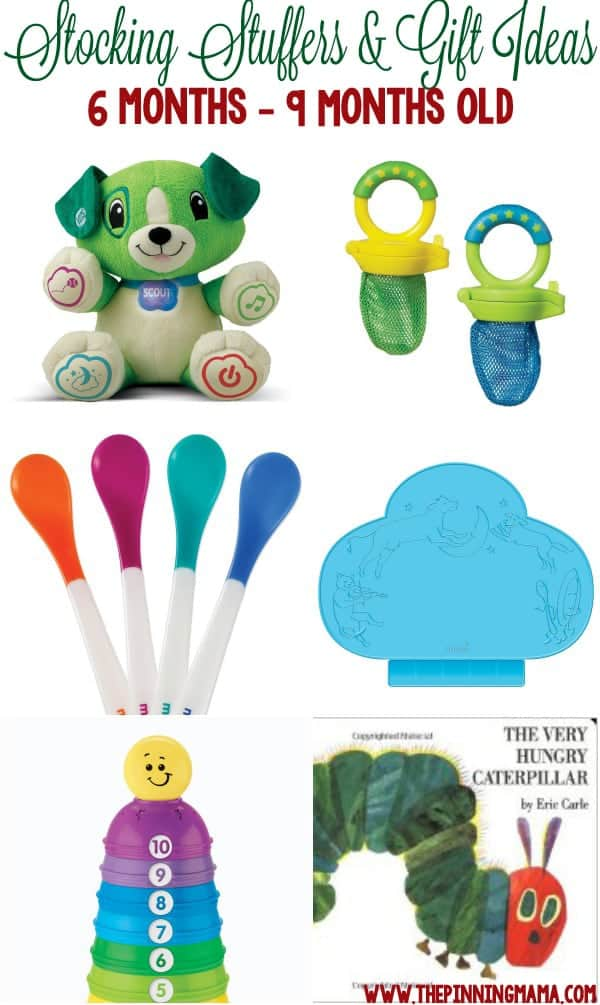 Great gift ideas for a 6 month old baby, 7 month old baby and 8 month old baby! Perfect for stocking stuffers, Christmas or birthdays!