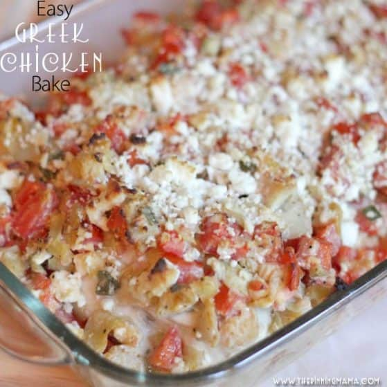 Greek Chicken Bake - So easy! I am pinning this so I can make it tonight!