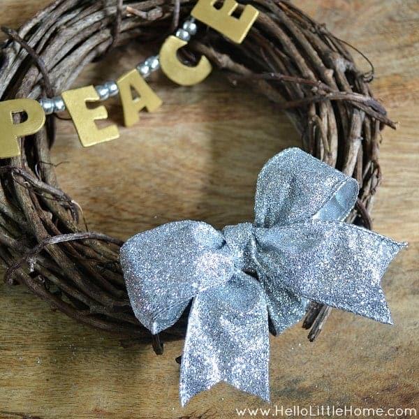 Mini Silver and Gold Peace Wreath | Hello Little Home