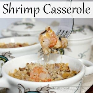 This cheesy shrimp casserole is an easy recipe to make for parties or just a simple family meal. Cheese and rice cooked with shrimp make a delicious meal or appetizer. You can cook it as one big casserole or in individual dishes. It's one of my favorite quick recipes for special occasions!