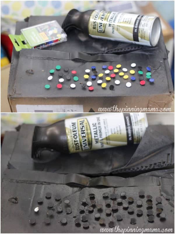 Make faux nail heads by spray painting push pins with bronze spray paint