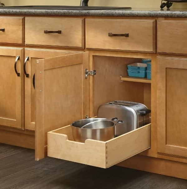 Use pull out drawers to organize tupperware