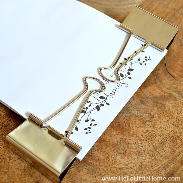 Clipping pages together for the DIY Notepad | Hello Little Home for The Pinning Mama