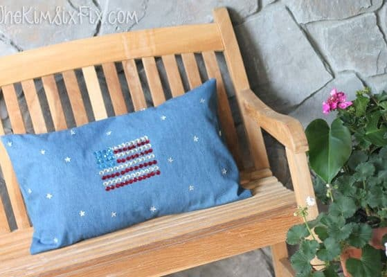 DIY Sparkling American Flag Pillow- Perfect Patriotic Craft for Kids!!!