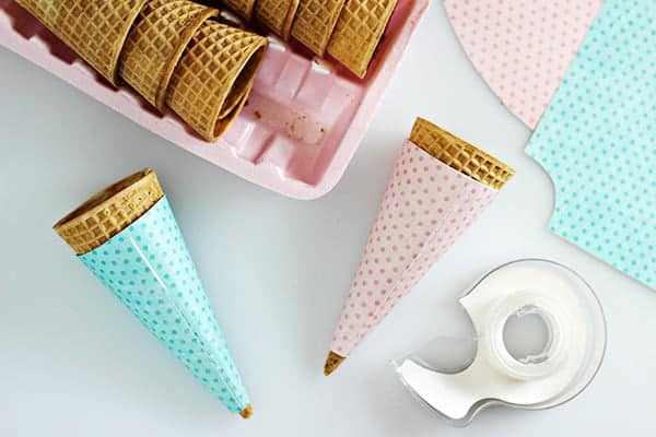 Free Printable Polka Dot Ice Cream Cone Wrappers- Aren't these the CUTEST?!