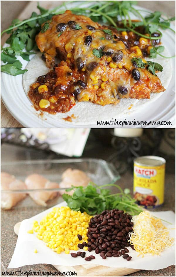 Enchilada Chicken Bake Recipe -- Only 5 ingredients and 5 minutes to prep! The best quick and easy weeknight dinner!