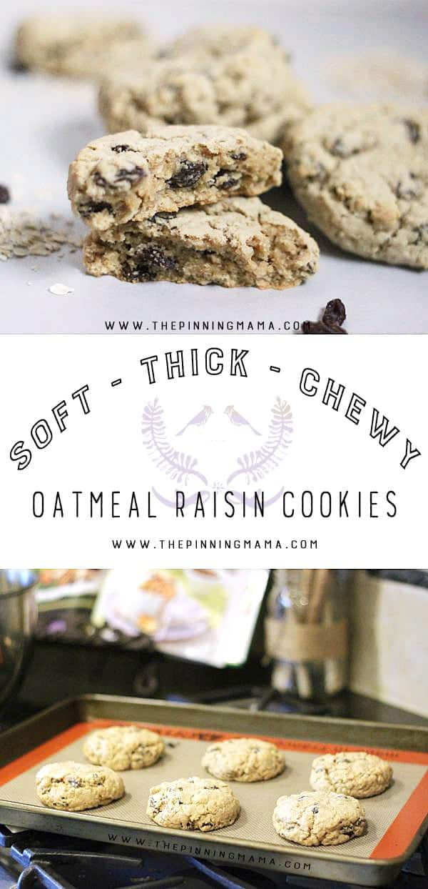 Soft and Chewy Oatmeal Raisin Cookies! She even explains how to make them extra thick!