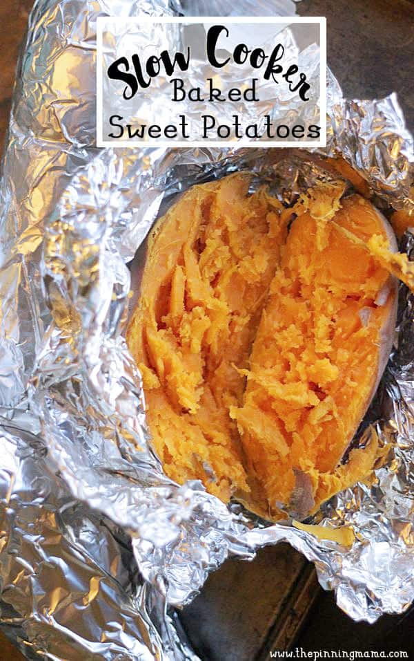 Slow cooker sweet potatoes- perfect to have on hand for Paleo or Whole30 diets.