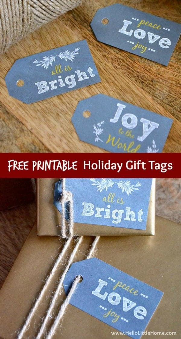 These Free Printable Holiday Gift Tags are the perfect finishing touch for your Christmas packages! | Hello Little Home for The Pinning Mama