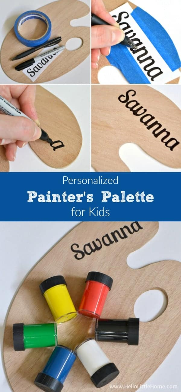 Step-by-step tutorial for making a DIY Personalized Painter's Palette for Kids ... the perfect gift for a budding artist! | Hello LIttle Home