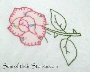 applique rose with blanket stitch