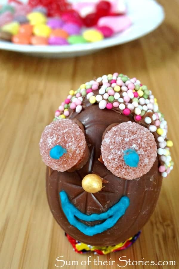 Easter egg fun face with sprinkles for hair