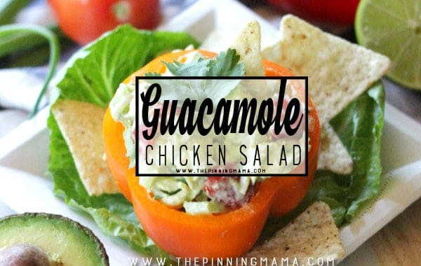 If you are a guacamole lover you can't miss this recipe! Guacamole Chicken Salad combines everything delicious from your favorite appetizer into creamy chicken salad to make it a fantastic easy lunch idea!