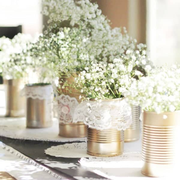 DIY Shabby Chic centerpiece -  I love this idea for a rustic wedding or southern themed event!  Such an easy thing to make yourself too!