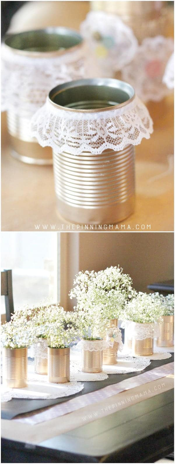 Gold and Lace Tin Can Table Centerpiece - How beautiful would this be for a vintage wedding or a shabby chic baby shower or bridal shower?  This is an easy to make craft idea that turns into stunning decor!