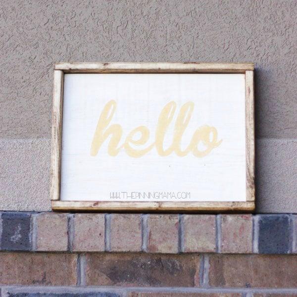 Hello Wood SIgn - Super cute for front door!