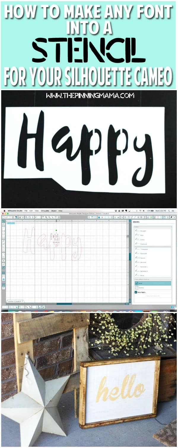 How to make ANY font into a stencil to cut with your SIlhouette CAMEO. This is so helpful for making wood signs and tons of other projects where you want to stencil words onto something and paint it!