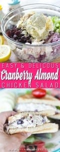 My go to chicken salad recipe! Cranberry Almond chicken salad is a classic recipe that people just love! It is perfect for a brunch, bridal or baby shower, and something that you might just want to keep in the fridge for lunch every day!