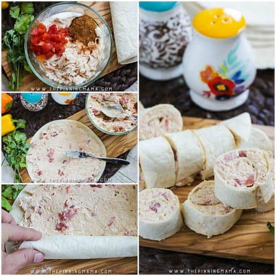 Creamy Taco Roll Ups recipe - This makes a great appetizer idea and is ONLY 5 INGREDIENTS and takes just a few minutes to put together. Perfect for game day, tailgates or even for something fun to put into a lunchbox for school or work.