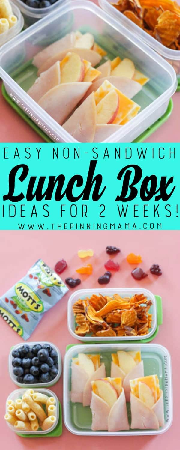 Turkey Apple & Cheese Pockets Lunch box idea - Just one of 2 weeks worth of non-sandwich school lunch ideas that are fun, healthy, and easy to make! Grab your lunch bag or bento box and get started!
