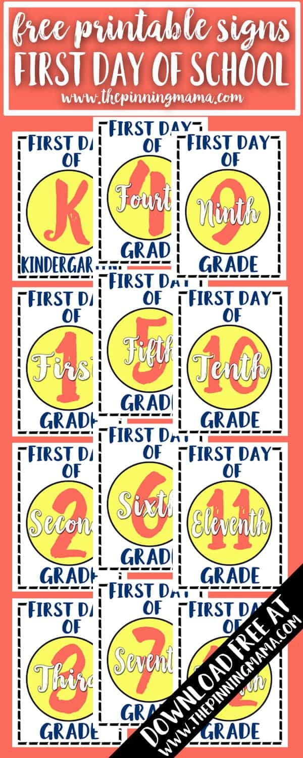 These are SO cute! Free Printable First Day of School Signs - Pre-K through 12th grade! Use these for the cutest first day of school photos!
