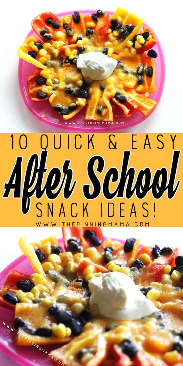 Mini Pepper Nachos - 10 Quick and Easy After School Snack Ideas for Kids. You can literally make all of these in only 5 minutes!!