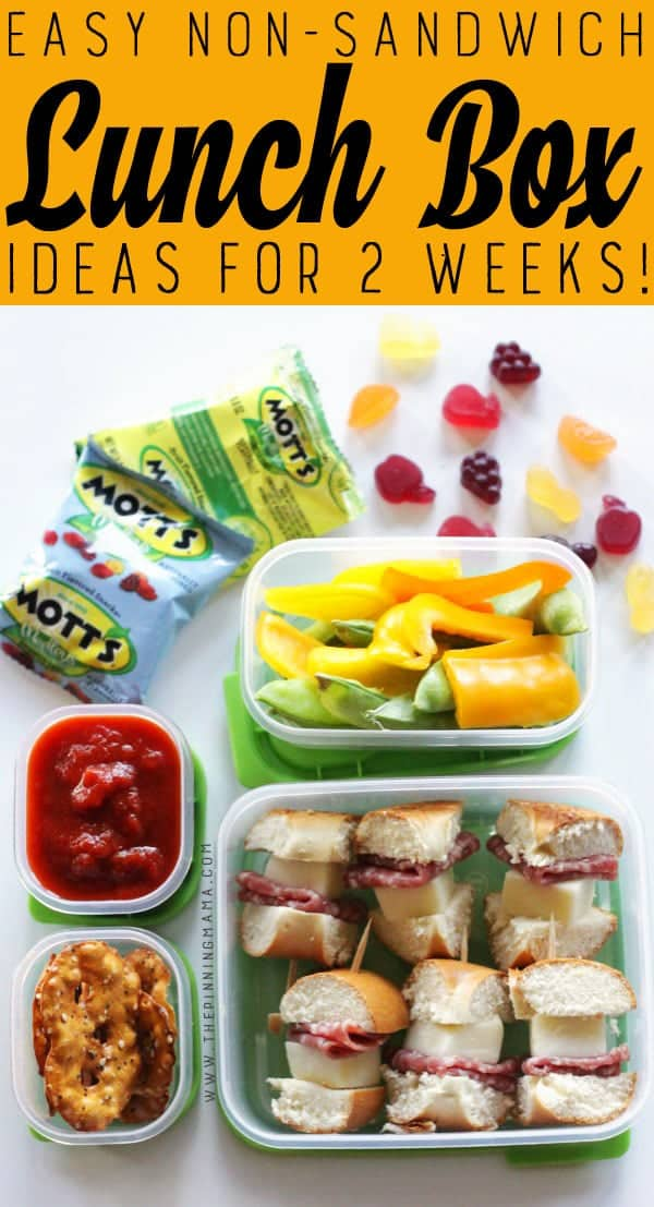 Pizza Dippers lunch box idea for kids! Just one of 2 weeks worth of non-sandwich school lunch ideas that are fun, healthy, and easy to make! Grab your lunch bag or bento box and get started!
