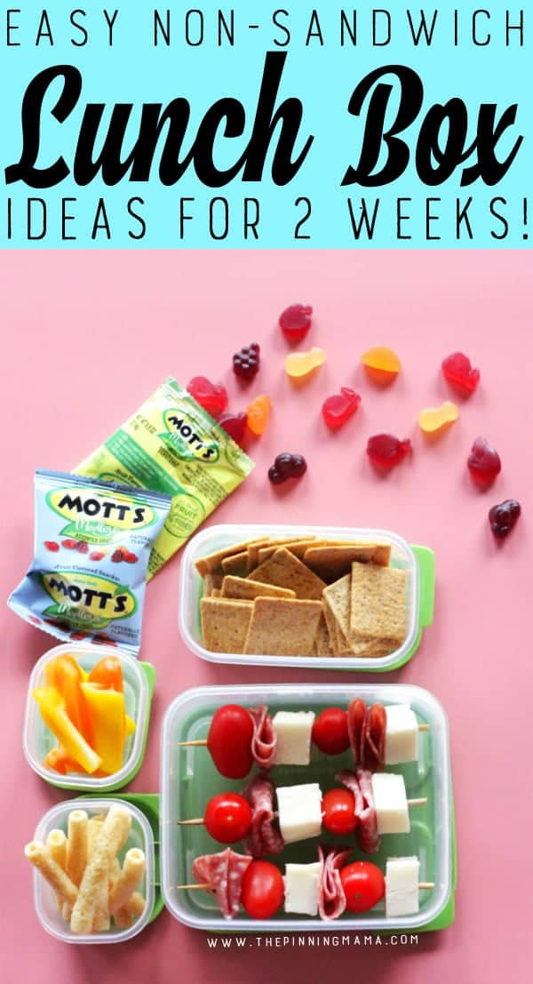 Pizza Kabobs lunch box idea for kids! Just one of 2 weeks worth of non-sandwich school lunch ideas that are fun, healthy, and easy to make! Grab your lunch bag or bento box and get started!