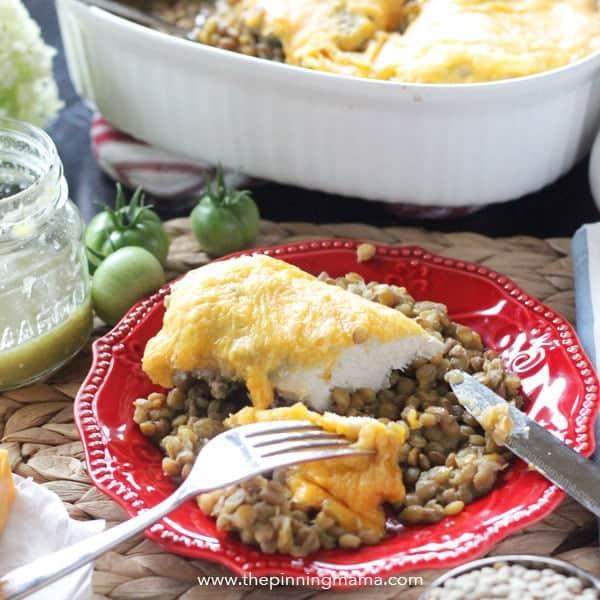 5 Ingredient Quick and Easy Dinner Idea - Salsa Verde Chicken Bake Recipe!