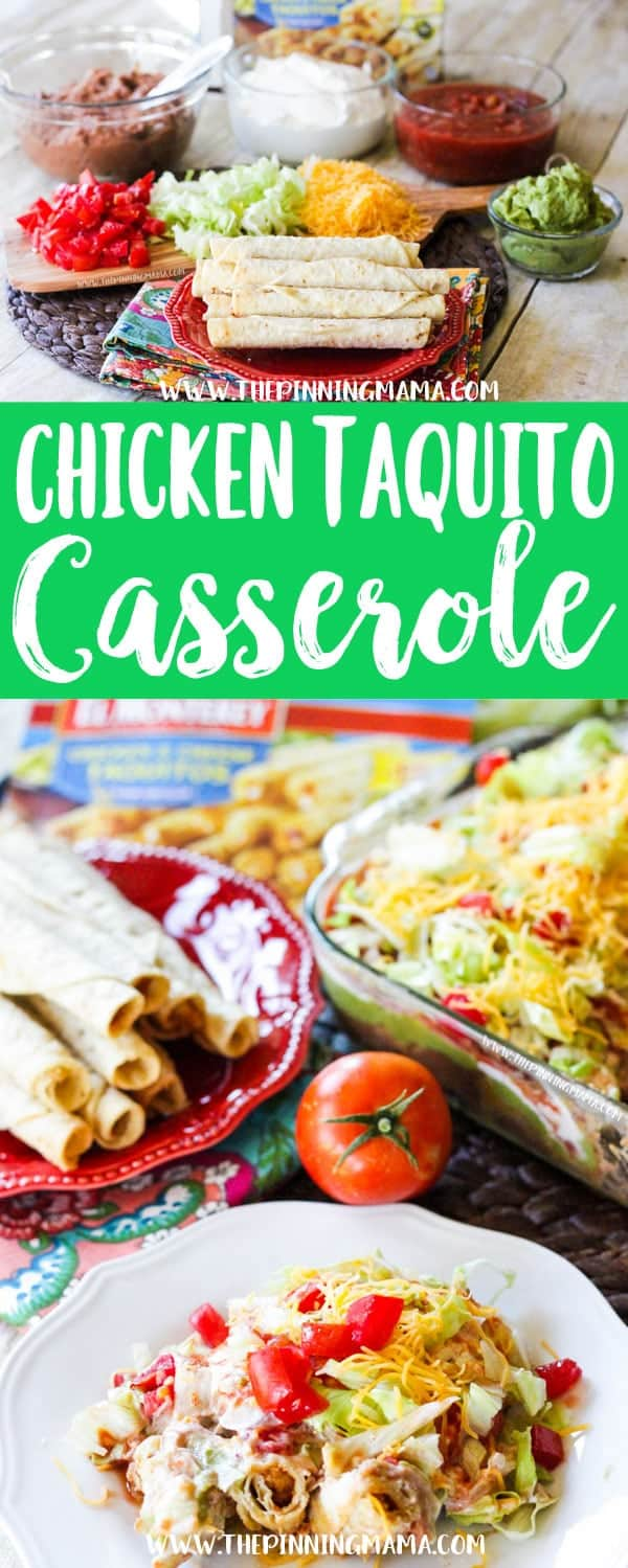 Absolutely the PERFECT tailgating appetizer!!! Everyone will want the recipe. Chicken Taquito Casserole Recipe - 20 minutes and 8 ingredients for the perfect easy appetizer or weeknight dinner!