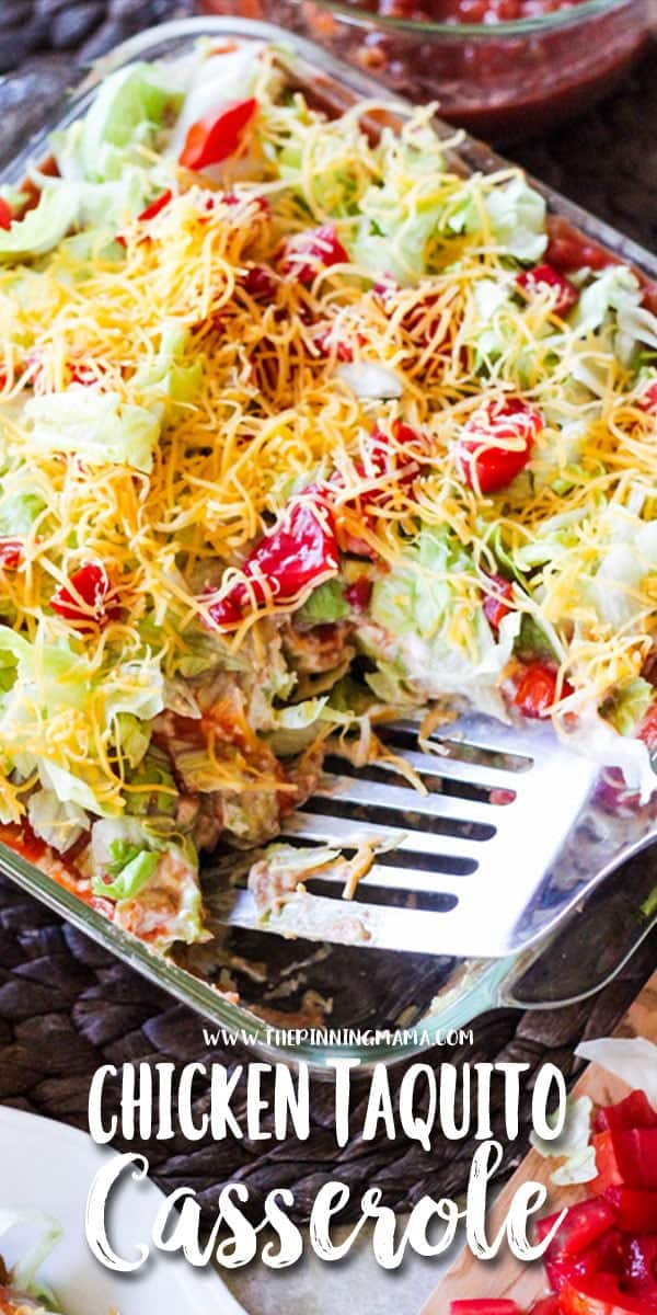 Chicken Taquito Casserole Recipe - This quick and easy dinner idea will be one that everyone LOVES! Plus it makes a great heavy appetizer perfect for football and tailgating. You can make this in as little as 20 minutes and people will absolutely beg for the recipe!
