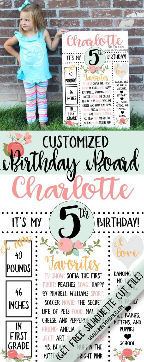 Grab this adorable FREE birthday board cut file to customize and make with your Silhouette CAMEO or Cricut cutting machine. Free customizable printable also available! Includes file types: svg, dxf, and png.