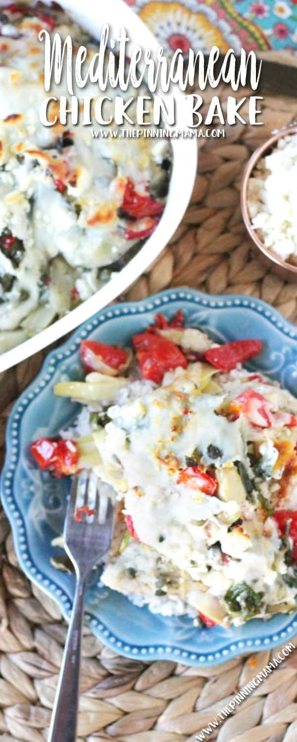Keep the recipe handy because everyone will want it! Mediterranean Chicken Bake is a super easy dinner idea packed with spinach, artichokes, tomatoes, feta cheese and greek seasoning and made all in one dish for easy prep and clean up!