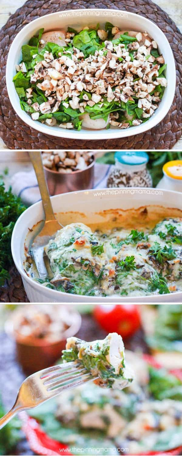 This tastes like it is from Olive Garden and it is SO EASY! The Cali-Alfredo Chicken bake recipe is chicken breast baked with spinach, mushrooms, bacon, alfredo and cheese on top. I literally make this once a week now!