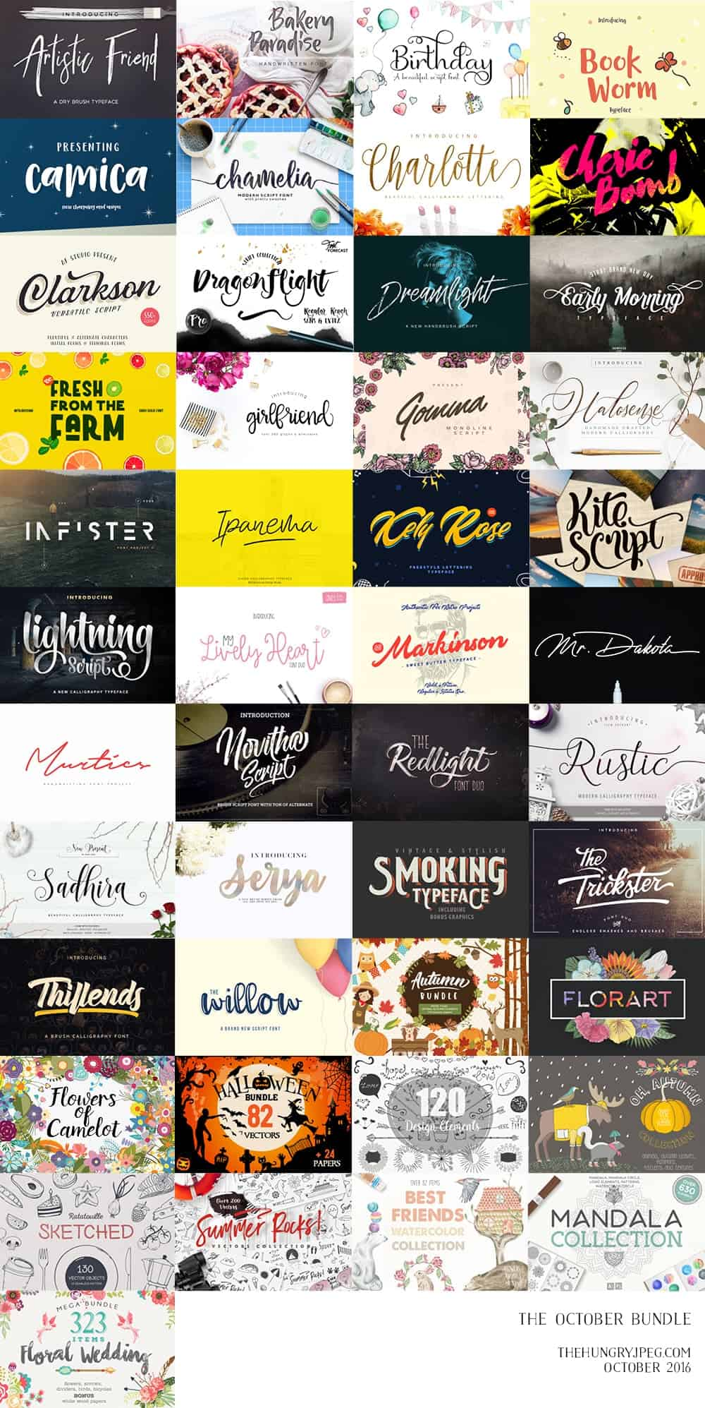 October font and graphic bundle