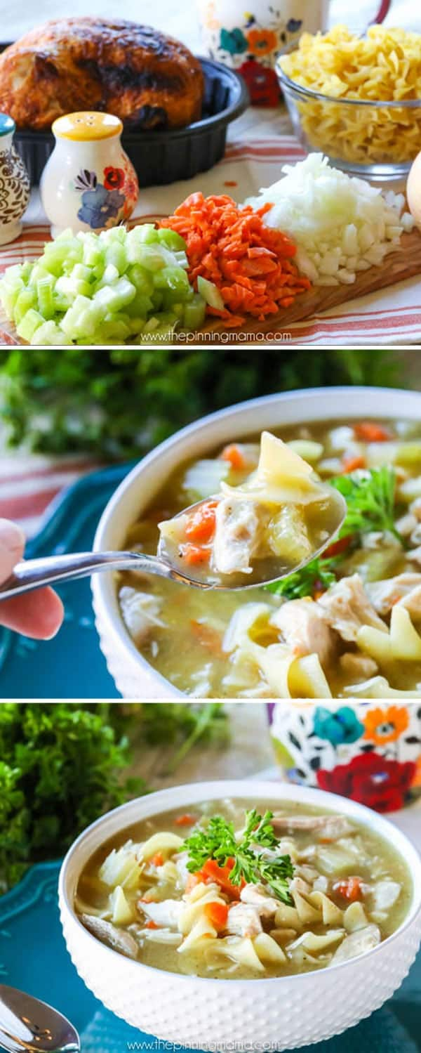 Seriously the BEST homemade chicken noodle soup you will ever have. You never knew it was so easy to make soup this good and it is even pretty healthy!