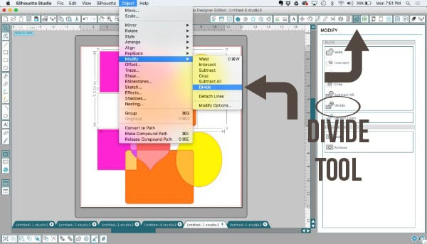 Where to find the divide tool in Silhouette Studio