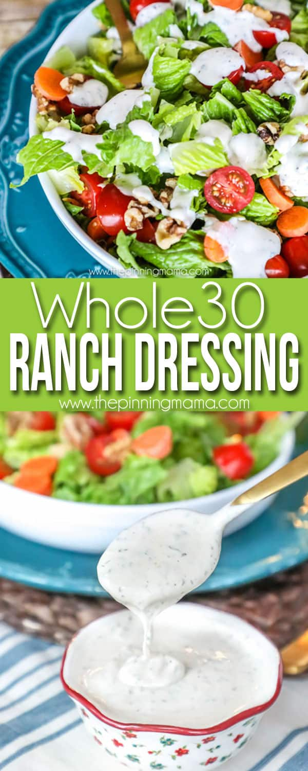 OH MY! You would never know this ranch dressing is healthy! Not only is it delicious but this ranch dressing recipe is dairy free, gluten free, paleo, and whole30 compliant!