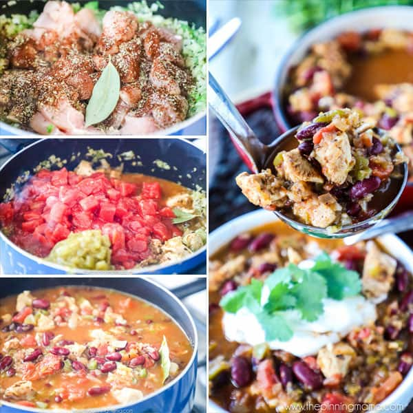 Chili with Chicken and Beans Recipe - The perfect homemade chili recipe packed with tomatoes, chicken breast, green chilis, beans, bell pepper and onion and rich broth!