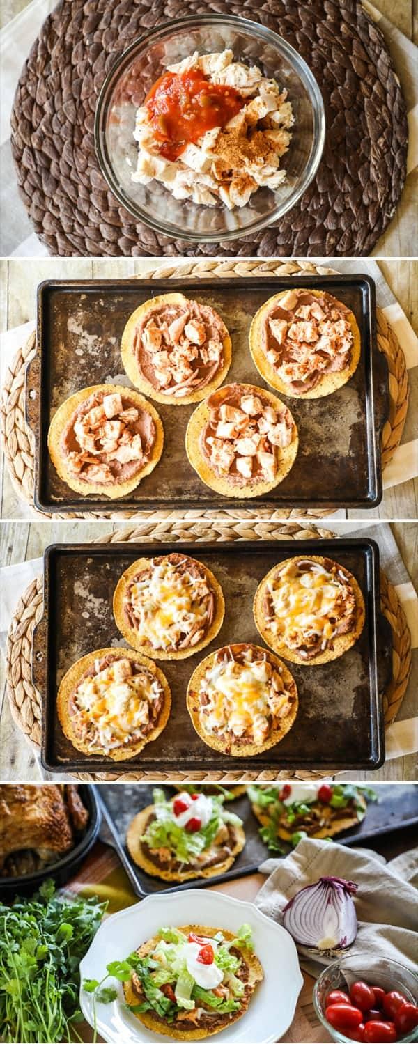 Baked Chicken Tostadas step by step recipe