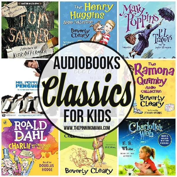 collage of classic audio books for kids