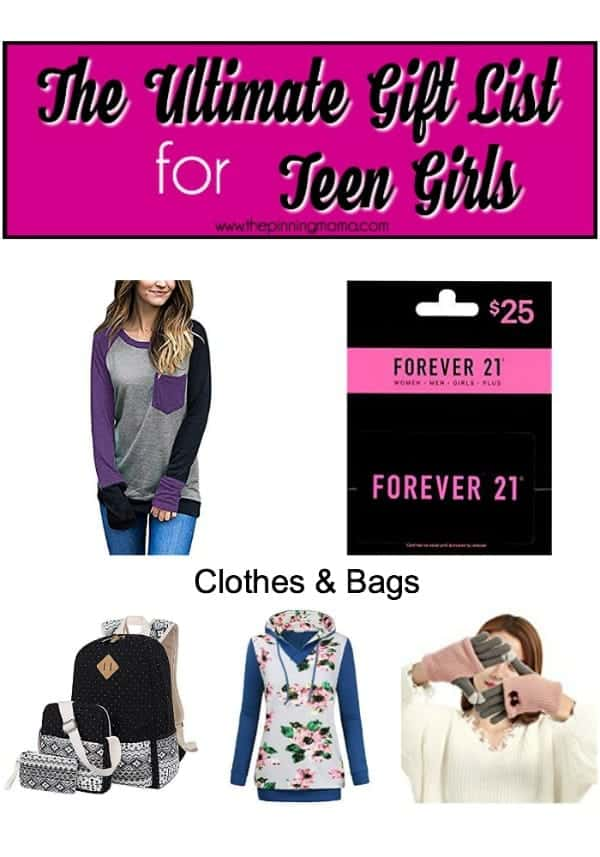 Gift list for teens, clothes and Bags